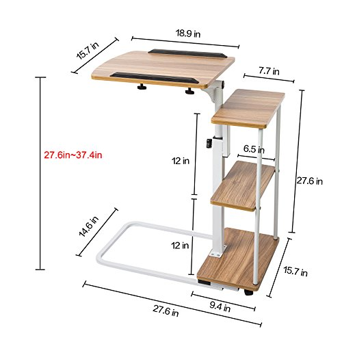 Sdadi adjustable overbed table with wheels laptop cart for Divan overbed table