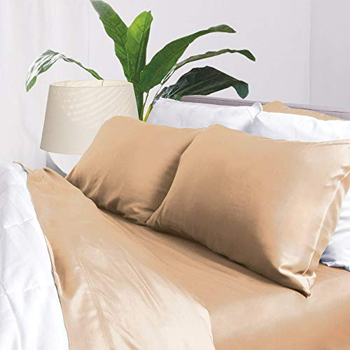 Bamboo Sheets by Aloha Soft - 4 Piece Bed Sheet Set - Includes Bed Sheets and Pillowcases - Lifetime Quality Guarantee (Queen, Tan)