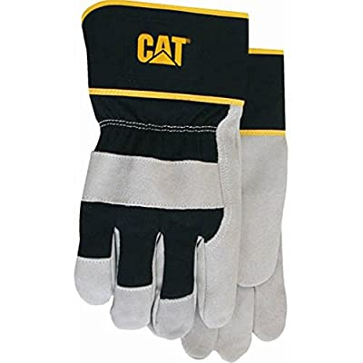 CAT Premium Grey/Black Leather Palm Work Gloves - Large #