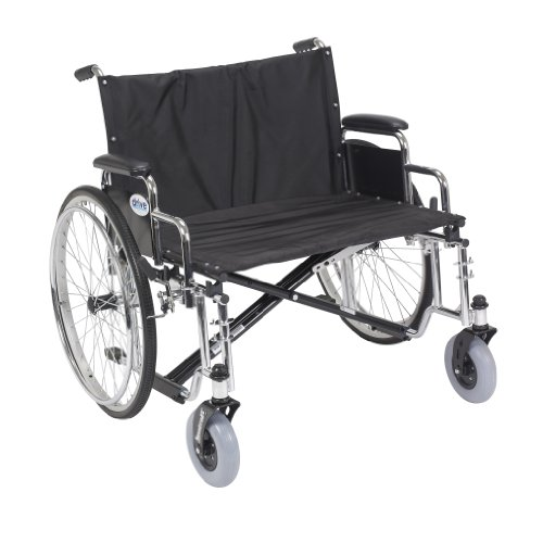 Drive Medical Sentra EC Heavy Duty Extra Wide Wheelchair with Various Arm Styles Arms, Black, 28