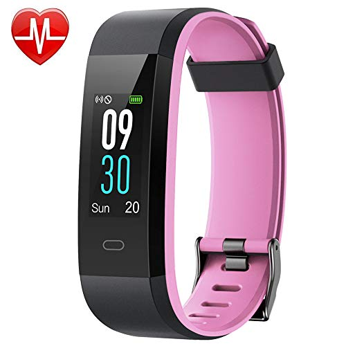 YAMAY Fitness Tracker, Heart Rate Monitor Watch Fitness Watch Activity Tracker IP68 Waterproof Pedometer with Step Counter Sleep Monitor 14 Sports Tracking for Women Men Kid (Color Screen) (Pink)