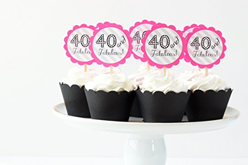 40th Birthday Party Cupcake Toppers Neon Pink Grey Chevron C