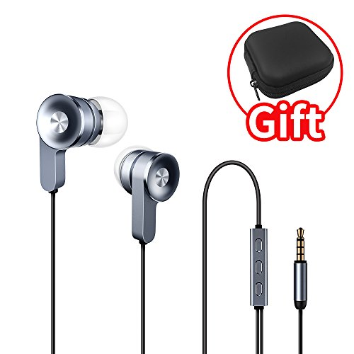Headphones, In-Ear Heavy Bass Earbuds with Volume Control, Noise Cancelling Metal Earphones with Mic for iphone and Android ()