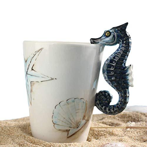 - 3D Hand-painted Cute Animals Mug,Ceramic Coffee Mug,Novelty Gift Cup (13.66oz) (Seahorse)