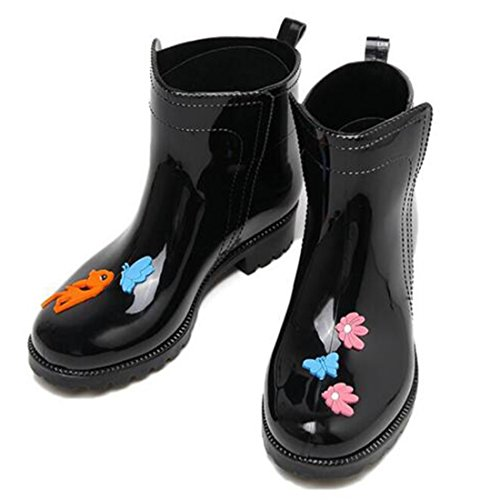Rubber Boots COVOYYAR Black Heel Rain Waterproof Boots Thick Ankle Jelly Deer Women's Shoes Low wrSrqt0Z