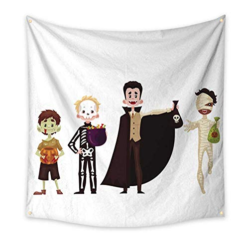 Anniutwo Hanging Tapestry Boys Dressed in Skeleton Mummy Zombie Vampire Costumes for Halloween Living Room Bedroom Dorm Decor 70W x 70L Inch ()