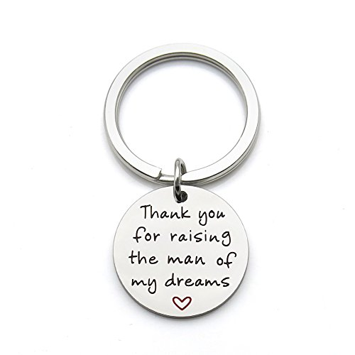 Thank You for Raising The Man of My Dreams Mother Gift Mother in Law Future Mother Groom Bride Wedding Stainless Steel Pendant Keychain Key Ring
