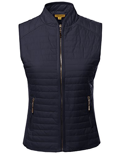 Tight Fit Solid Basic Quilted Vest Side Rib Panel Details Na