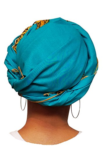 Turquoise-African-Print-Ankara-Head-wrap-Tie-scarf-Multicolor-One-Size