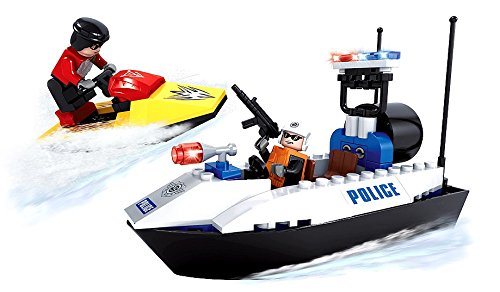 Brickland Police Patrol Boat Building Bricks, City Rescue Patrol Speed Boat and Jet Ski With 2 Figures Toy for Kids Age 6 & Up (114 Pieces) ()