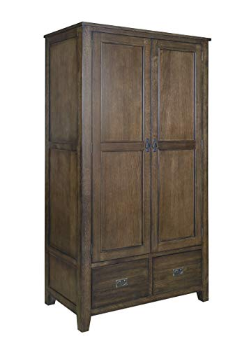 Crafters and Weavers Mission Quarter Sawn Oak 2 Door, 2-Drawer Armoire, Walnut 2 Door Walnut Armoire