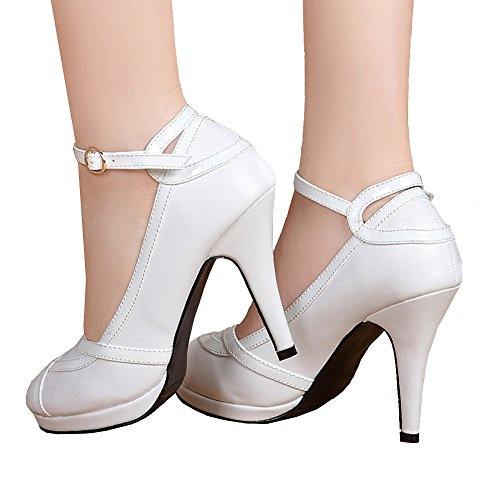 getmorebeauty Women's Vintage Retro Strappy White Wedding Bridal Shoes Dress High Heels 10 B(M) US (Shoes Vintage White)