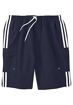Kingsize Men's Big & Tall Double Stripe Boardshorts