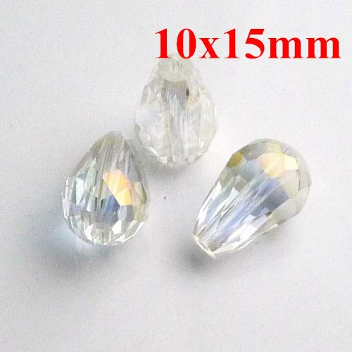Calvas AAA Top Quality 10X15mm 5500 Teardrop Crystal Glass Beads Crystal Clear AB Colour 100pcs/lot T8110401AB ()