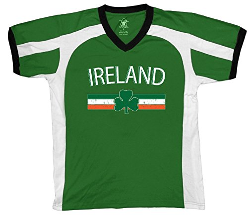(Amdesco Ireland Flag and Country Emblem Men's Soccer Style Sport T-Shirt, Kelly/White/Black 2XL)
