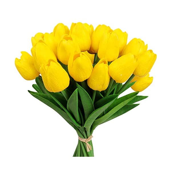 AmyHomie 20 Pcs Artificial Flowers Real Touch Tulips Fake PU Tulips for Wedding DIY Home Party Decor (Yellow)