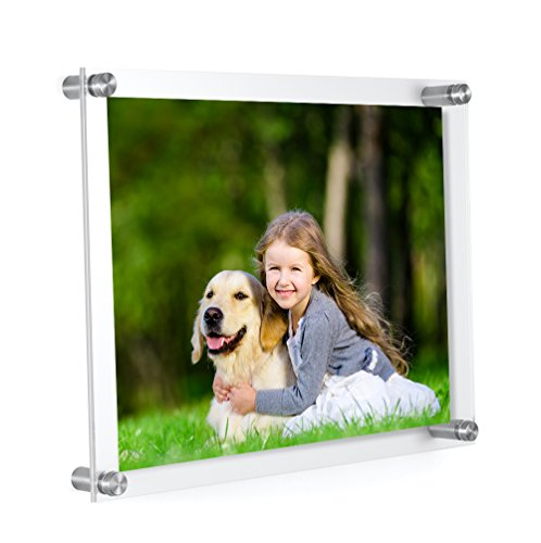 MeetU Acrylic 8.5 x 11 Frame -Inner 8x10 Picture Frame -Wall Mount Photo Frame to Use As Family Picture Frame, Baby Photo Frame, Document Frame, Art Frames -Make a Supper Clear Floating Look (Cool Glass Frames)