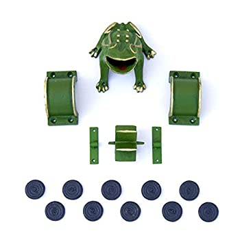"""Image of CADENAS - Frog Game / Sapo Game/ Toad in The Hole Game """"Complete"""" cast Iron: 1 Frog / Sapo , 2 Bridges, 1 Mill , 2 Fasteners y 10 Tokens. Flying Discs"""