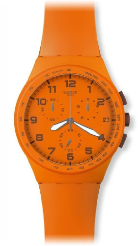 Swatch Wild Orange Women's Plastic Case Chronograph Date Watch SUSO400