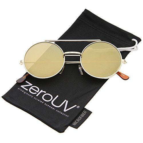 zeroUV - Mid Size Flip-Up Colored Mirror Lens Round Django Sunglasses 49mm (Gold / Gold - Sunglasses Django