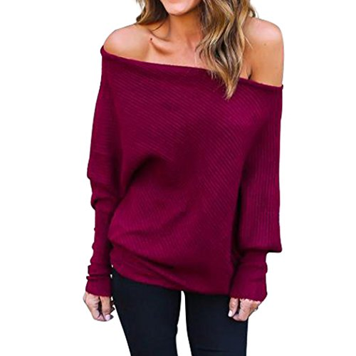 Vicheer Women's Sexy Long Sleeve Adjustable Solid Blouse Off Shoulder Knit Sweaters Red M (Uk H&m Jumpers Christmas)