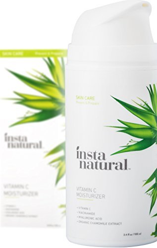 InstaNatural Vitamin C Moisturizer Cream - Facial Anti Aging & Wrinkle Reducing Lotion for Men & Women - With Hyaluronic Acid & Organic Jojoba Oil - Hydrating for Dry, Sensitive, & Oily Skin - 3.4 OZ