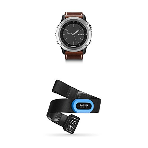 Garmin Fenix 3, Sapphire, Silver/Leather and HRM-Tri Heart Rate Monitor