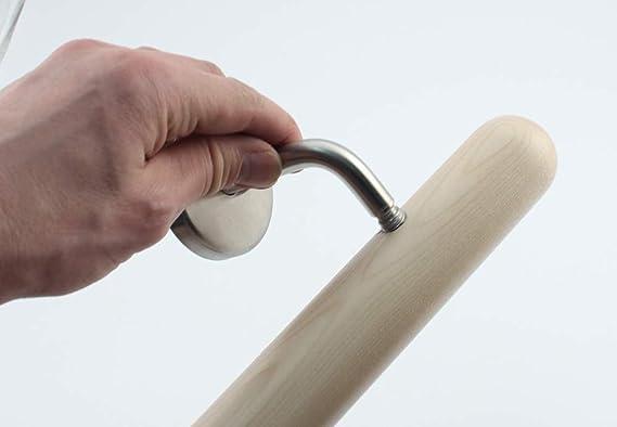 Buche, 180cm Holz-Handlauf Set mit halbrunden Abschl/üssen und Haltern 50-250cm am St/ück