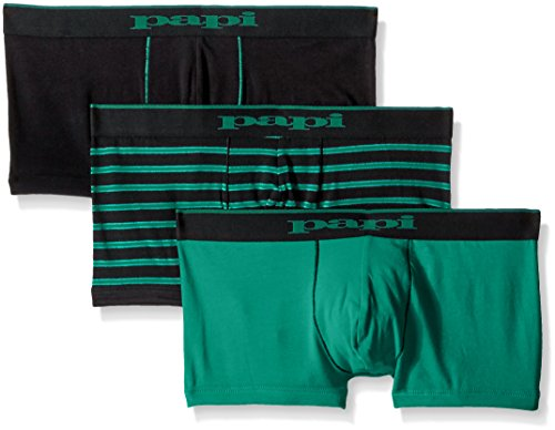 papi Men's Stripe Solid Brazilian Trunk, Black/Green, X-Large (Pack of 3) by papi