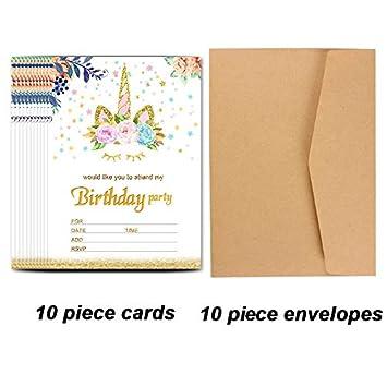 Amazon.com: Tarjeta de invitaciones de unicornio para ...