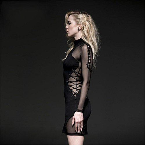 Langarm High Damen Kleid 2 en Fitting Kleid Gothic Rock knielangen Slim Gr Collar Sexy Mesh wwRSX