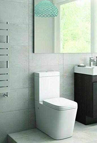 Sorrento Bathrooms Back to Wall Toilet Close Coupled WC White Dual Ceramic Soft Close Seat Modern Design