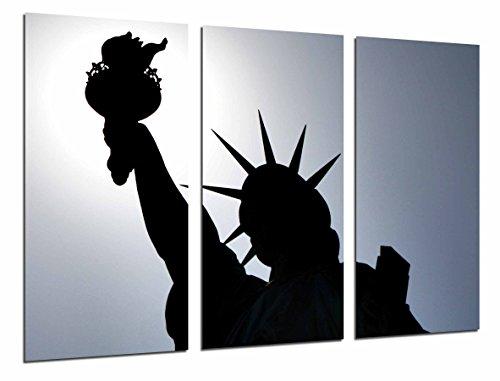 Cuadro Moderno Fotografico Ciudad Nueva York, Estatua Libertad, Silueta Antorcha, 97 x 62 cm, Ref. 27012