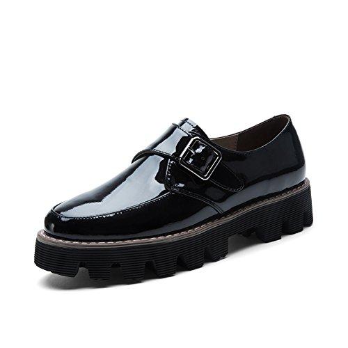 Británico charol zapatos en otoño/Los zapatos de pies/ Universidad de estilo zapatos de plataforma B