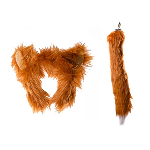 [Life-like Red Fox Ears Headband and Tail Set for Zoo Animal Party and Red Fox Costume Cosplay] (Little Girl Fox Costumes)