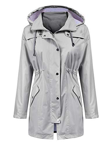 LOMON Raincoat Women Waterproof Long Hooded Trench Coats Lined Windbreaker Travel Jacket Gray XXL