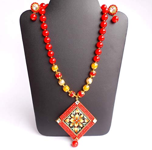 Ethnic Ethnic Traditional Handmade Golden Thread Red Glass Stone Beads Necklace N0709/_47