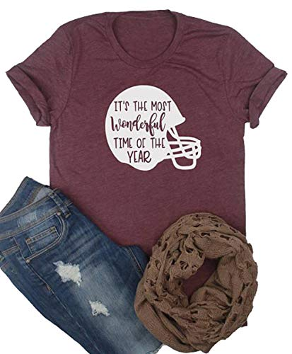 It's The Most Wonderful Time of The Year Football T-Shirt Women Short Sleeve Helmet Graphics Funny Tops Tee Size XL -