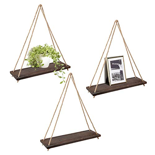 Mkono Wood Wall Floating Shelf Rustic Hanging Swing Rope Shelves, Set of 3 Wall Display Shelves Home Organizer Boho Decor Shelves for Living Room Bedroom Bathroom Kitchen ()