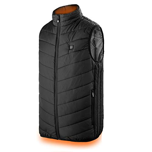 Heated Vest, Power Bank Powered Adjustable Lightweight Heated Vest for Men Outdoor Warm Jacket(Battery Not Included)(S) Black