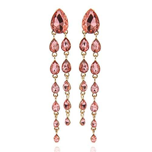 Tear Drop Rain Cascade Austrian Crystal Embellished Post Dangle Earrings in Peach ()