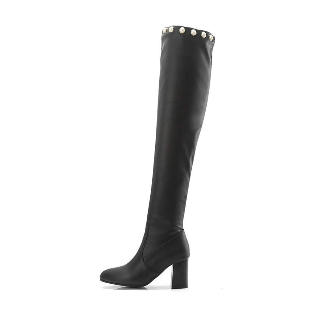 1e6948eedc4 Amazon.com  YaXuan Women Shoes, New Over The Knee Thigh High Black Boots  Women Motorcycle Long Boots High Heel Suede PU Shoes (Color   A