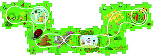 t - Battery-Operated Toy Vehicle & Floor Puzzle Play Mat - 16 Pc Sets - Lady Bug Themed Vehicle - Interchangeable Tracks - Create Up To 50 Combinations - by Ideas In Life ()