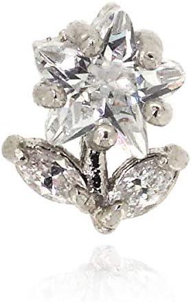 軟骨ピアス ボディピアス 16G ストレートバーベル ラインストーン キュービックジルコニア CZダイヤモンド おしゃれ かわいい (フラワー)