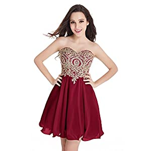 Babyonlinedress Babyonline Junior's Gold Lace Short Homecoming Dresses