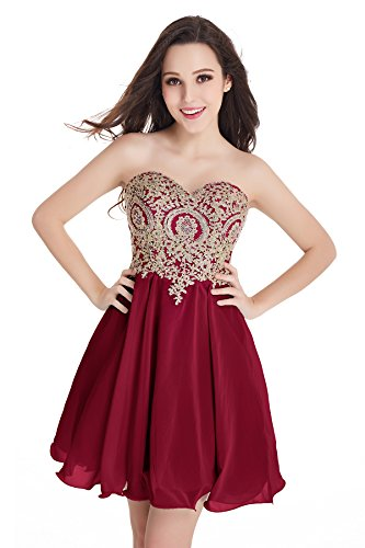Corset Prom Dresses 2016 - 2016 Homecoming Dresses A Line Sweetheart with Beads (Burgundy,14)