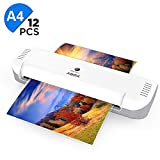 Laminator, ABOX 9'' Thermal Laminator with 12 Laminating Pouches, Ultra Slim Laminating Machine for Business Card/Letter/Menu/Photo, 2-4mins Quick Warm Up, No Bubble, No Wrinkle, White/Grey