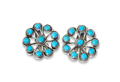 Native American Zuni Silver Turquoise Cluster Clip On ()
