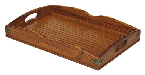 Mountain Woods Valencia Antique Style Hardwood & Bamboo Serving Tray with Rattan & Metal Accents - Rattan Accent