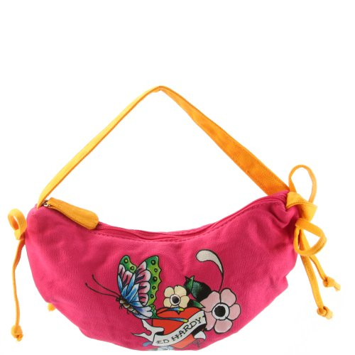 Ed Hardy Girls Iris Crescent Shoulder Bag- Pink ()